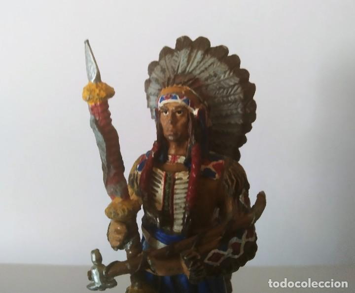 Juguetes Antiguos: FIGURA DE PLOMO INDIO AMERICANO GRAN TAMAÑO 11 CM - Foto 2 - 251905390