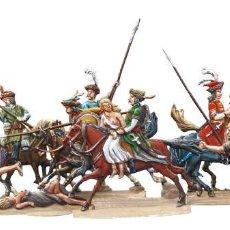 Juguetes Antiguos: 13 FIGURAS EN PLOMO DE LA CASA BZ REPRESENTANDO JINETES HUNGAROS ASALTANDO UN PUEBLO. PLOMOALEACIÓN. Lote 217015300