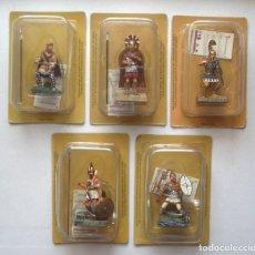 Jogos Antigos: LOTE DE 5 FIGURAS DE PLOMO TROYANO, ESPARTANO, PERSA, ETRUSCO GUERREROS DE LA ANTIGUEDAD. Lote 284475318