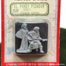 Giochi Antichi: FIGURA DE PLOMO JRR TOLKIENS. EL PONEY PISADOR. CHICA Y TROVADOR SENTADO.MIDDLE-EARTH. NUEVO. M120.. Lote 287900598