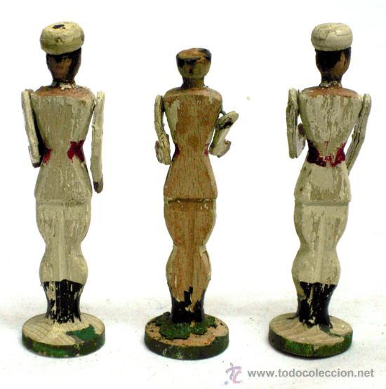 Juguetes Antiguos: 3 soldados de madera Bambino años 40 - Foto 2 - 23013757