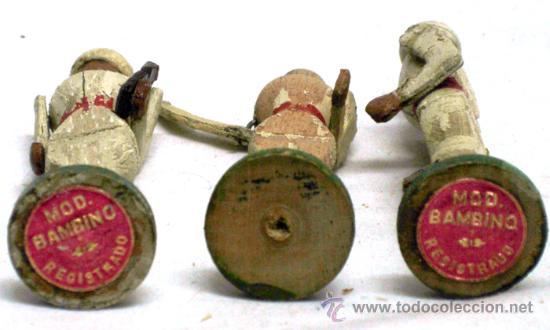 Juguetes Antiguos: 3 soldados de madera Bambino años 40 - Foto 3 - 23013757