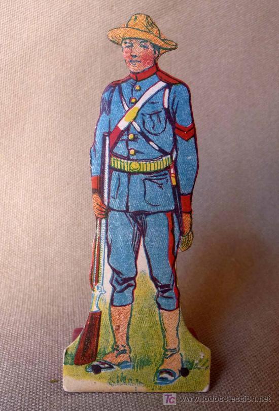 PRIMITIVA FIGURA DE CARTON, SOLDADO ESPAÑOL, CUBA?, 1920S, ESTADOS UNIDOS (Juguetes - Soldaditos - Otros soldaditos)