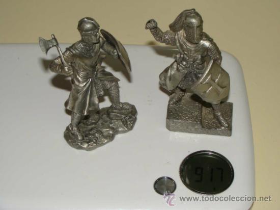 Juguetes Antiguos: 2 FIGURAS MEDIEVALES. SOLDADOS CABALLEROS TEMPLARIOS. PLOMO. 900 GRAMOS. - Foto 2 - 30836340