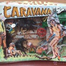 Juguetes Antiguos: CARAVANA DEL OESTE,EN CAJA,FIGURAS DE INDIOS Y VAQUEROS,JUGUETE POPULAR AÑOS 70. Lote 50534648