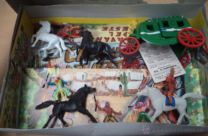 Juguetes Antiguos: Caravana del Oeste,en caja,Figuras de Indios y Vaqueros,juguete popular años 70 - Foto 2 - 50534648