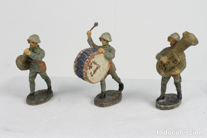Juguetes Antiguos: Elastolin, , tres músicos verdes - Foto 2 - 95283471