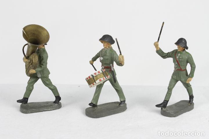 Juguetes Antiguos: Elastolin, 3 músicos casco negro - Foto 2 - 95283591