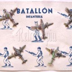 Juguetes Antiguos: BLISTER BATALLON DE INFANTERIA 5 AVIONETAS AVIONES PLASTICO DURO TIPO BAQUELITA AÑOS 50. Lote 97953639