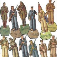 Juguetes Antiguos: SOLDADITOS DE CARTÓN DE LA ÉPOCA DE LA GUERRA CIVIL ESPAÑOLA (13 UNIDADES). Lote 103711823