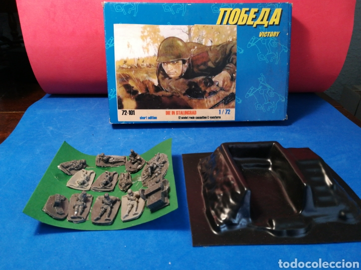 CAJA VICTORY MUERE EN STALINGRADO 12 SOLDADITOS SOVIÉTICOS RESINA + TRINCHERA (Spielzeug - Soldaten - Andere Soldaten)