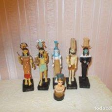 Juguetes Antiguos: LOTE DE FIGURAS DE DIOSES EGIPCIOS , DE RESINA ,Y MIDEN SOBRE 10 CENT MENOS EL PEQUEÑO QUE MIDE 5. Lote 147109542