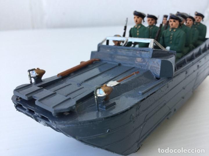 Juguetes Antiguos: Vehículo militar camión anfibio años 40 + 9 soldaditos - Foto 5 - 166271774