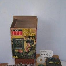 Juguetes Antiguos: - GEYPER MAN - RADIO CAMPAÑA , 2 DISCOS - AURICULARES - PRISMATICOS - CAMISA Y PIEL CAMUFLAGE- 1975 . Lote 194774602