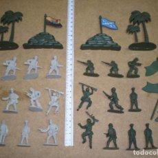 Juguetes Antiguos: LOTE 19 SOLDADOS 4 CM MAS 2 BARRICADA SACOS 2 PALMERA, 5 BANDERAS MAS FOTOS, . Lote 195243445
