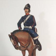 Juguetes Antiguos: ANTIGUA FIGURA EN MADERA PINTADA AL ÓLEO DE POLICIA A CABALLO ÉPOCA ALFONSO XIII FIRMADO P. HENRY. Lote 210727421