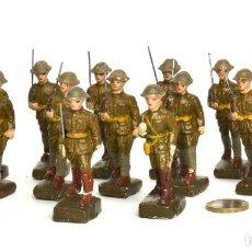 Juguetes Antiguos: 16 SOLDADOS AMERICANOS DE MASA ELASTOLIN, MARCA JAPAN, CIRCA 1930, ESCALA 5 CMS.. Lote 227893210