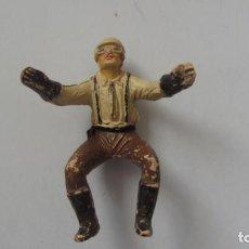 Juguetes Antiguos: JECSAN MOTORISTA DE GOMA -MUY ANTIGUO. Lote 241869165
