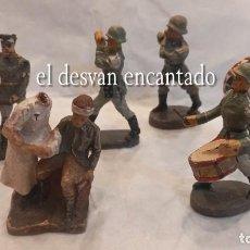 Juguetes Antiguos: LOTE SOLDADOS II GUERRA MUNDIAL. ELASTOLIN GERMANY. FABRICADOS EN PASTA. VER FOTOS. Lote 284640978