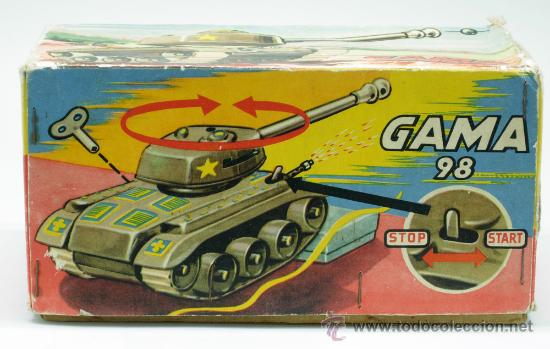 Juguetes antiguos: Tanque Gama 98 a cuerda lanza proyectiles en caja años 50 No funciona - Foto 2 - 35127949