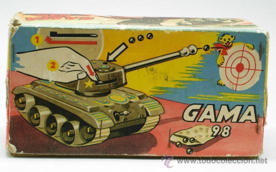 Juguetes antiguos: Tanque Gama 98 a cuerda lanza proyectiles en caja años 50 No funciona - Foto 5 - 35127949