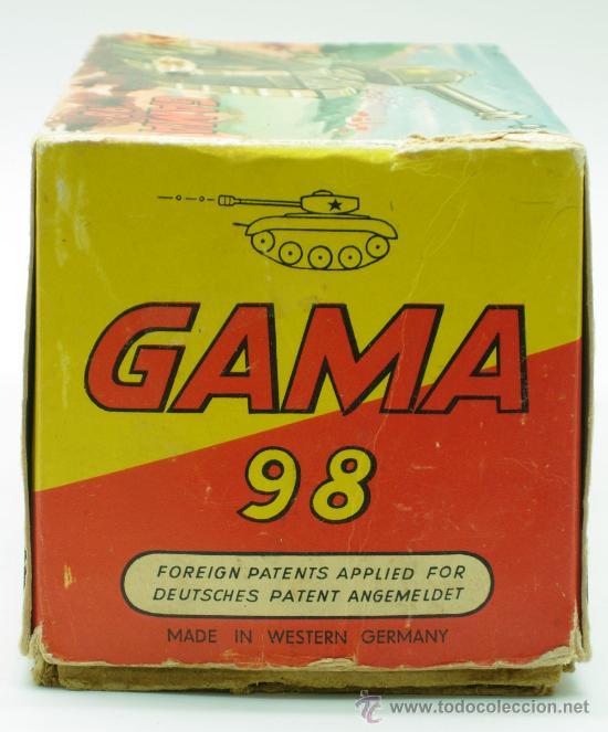 Juguetes antiguos: Tanque Gama 98 a cuerda lanza proyectiles en caja a cuerda funciona años 50 - Foto 3 - 35128070