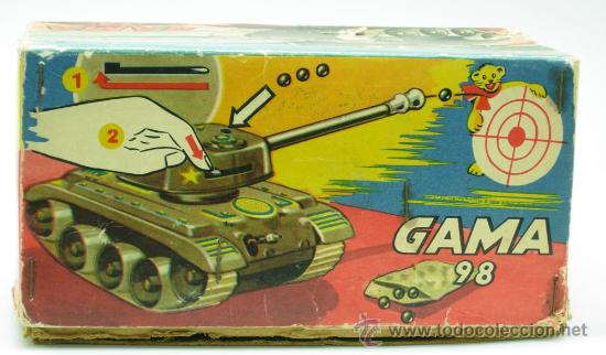 Juguetes antiguos: Tanque Gama 98 a cuerda lanza proyectiles en caja a cuerda funciona años 50 - Foto 4 - 35128070