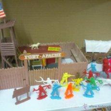 Juguetes antiguos: FORT - APACHE TO KENTUCKY.. FUERTE CON FIGURAS INDIOS, VAQUEROS... Lote 40625861