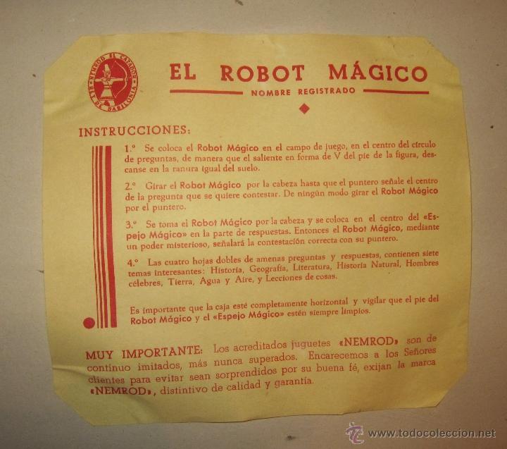 Juguetes antiguos: EL ROBOT MÁGICO,NEMROD,CAJA ORIGINAL,AÑOS 50 - Foto 4 - 40791062