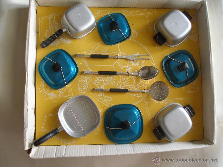 Juguetes antiguos: Menaje cocina en plástico metalizado PSE año 1965 , Sin uso - Foto 4 - 28623942