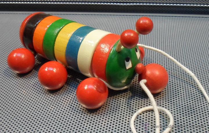 Juguetes antiguos: ANTIGUO ARRASTRE MADERA MARCA GOULA GUSANO - Foto 2 - 45859590