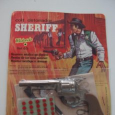 Juguetes antiguos: REVOLVER SHERIFF DE MINIATURAS REDONDO EN BLISTER. Lote 46219704