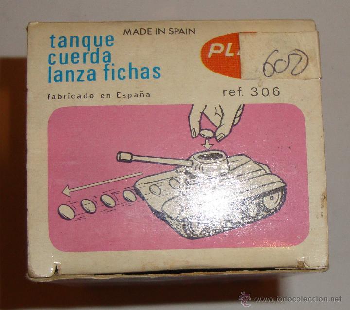 Juguetes antiguos: DIFICIL CAJA VACIA DE PLAYME TANQUE CUERDA LANZA FICHAS REF 306 - Foto 5 - 50615002