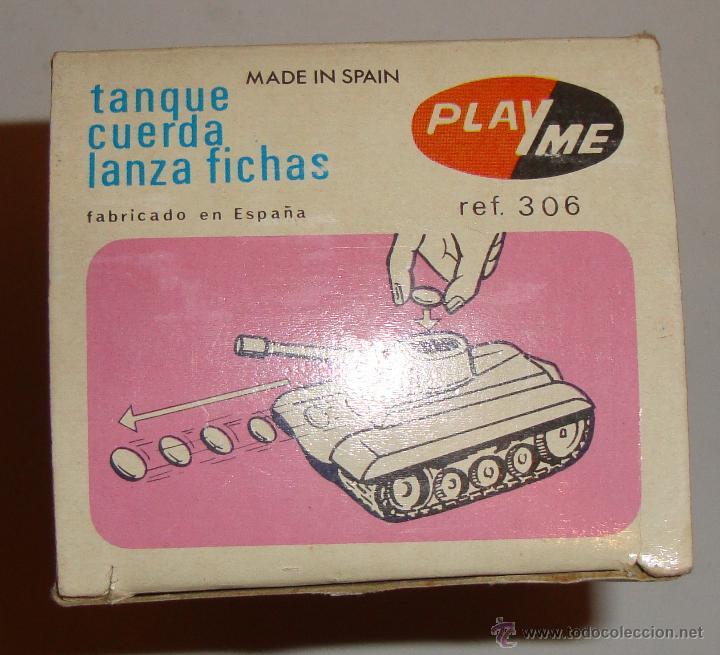 Juguetes antiguos: DIFICIL CAJA VACIA DE PLAYME TANQUE CUERDA LANZA FICHAS REF 306 - Foto 6 - 50615002
