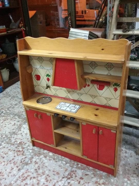 Cocina de juguete vintage antigua de madera comprar for Cocina de madera juguete