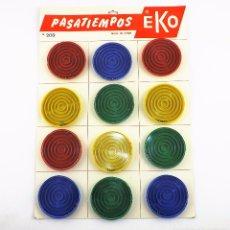 Juguetes antiguos: EKO ORIGINAL CCA1970 CARTÓN EXPOSITOR CON 12 JUEGOS. Lote 172732572