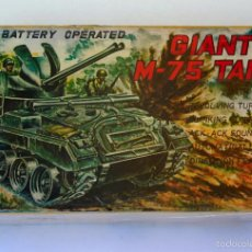 Juguetes antiguos: GIANT M-75 TANK BATTERY OPERATED MADE IN JAPAN VINTAGE CAJA VACIA 1960. Lote 66820722