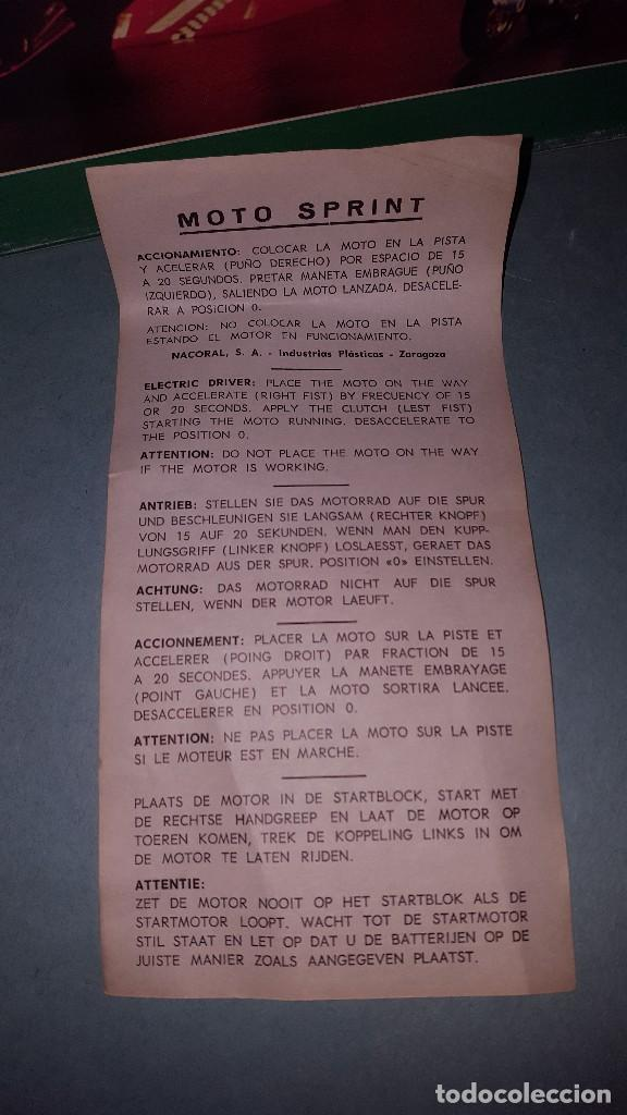 Juguetes antiguos: MOTO SPRINT NACORAL JUGUETE ARO DE PLATA 1979 - Foto 7 - 67822017