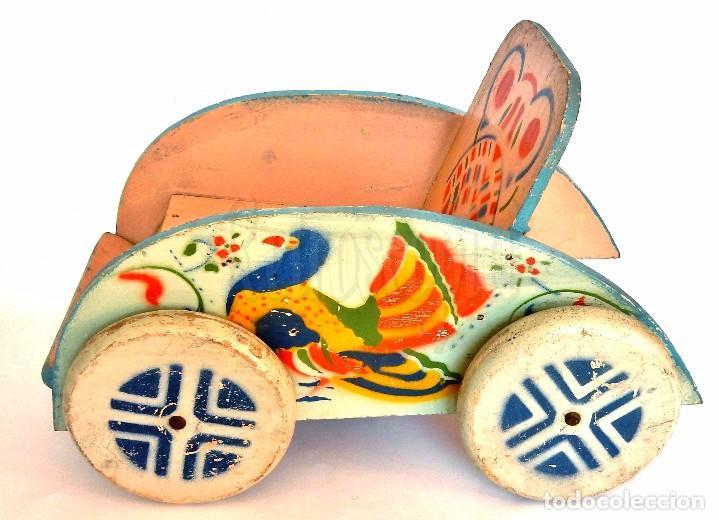 Juguetes antiguos: SILLA SILLITA CARRO CARRITO DE MADERA PARA MUÑECOS Y MUÑECAS. DENIA. AÑOS 40 - Foto 3 - 71743411
