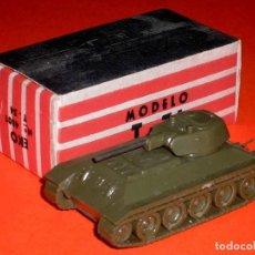 Juguetes antiguos: 1ª SERIE TANQUE T-34 RUSIA, REF. 4001, EKO H0 1/88 1/87, ORIGINAL AÑOS 60. SIN USO.. Lote 80331253