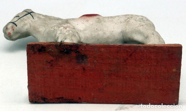 Juguetes antiguos: Caballo cartón piedra sobre base madera Denia años 30 - 40 15 cm alto - Foto 5 - 88111212