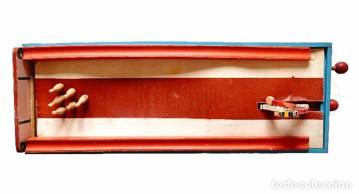 Juguetes antiguos: FANTÁSTICO Y ÚNICO JUEGO DE BOLOS DE MADERA DE DENIA. TIRA BOLAS. AÑOS 40 - Foto 5 - 90670340