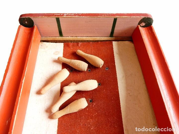 Juguetes antiguos: FANTÁSTICO Y ÚNICO JUEGO DE BOLOS DE MADERA DE DENIA. TIRA BOLAS. AÑOS 40 - Foto 7 - 90670340