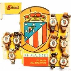 Juguetes antiguos: BLISTER EXPOSITOR DE CARTÓN CON 9 RELOJES DE JUGUETE DEL ATLETICO DE MADRID. GUISVAL FÚTBOL AÑOS 70. Lote 91960080