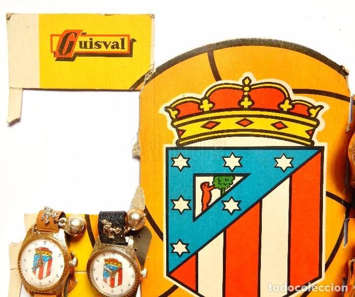 Juguetes antiguos: BLISTER EXPOSITOR DE CARTÓN CON 9 RELOJES DE JUGUETE DEL ATLETICO DE MADRID. GUISVAL FÚTBOL AÑOS 70 - Foto 5 - 91960080