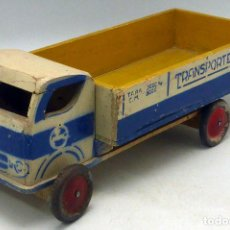 Juguetes antiguos - Pegaso camión madera Denia Transportes años 40 - 50 ruedas hojalata anagrama Pegaso - 97857035