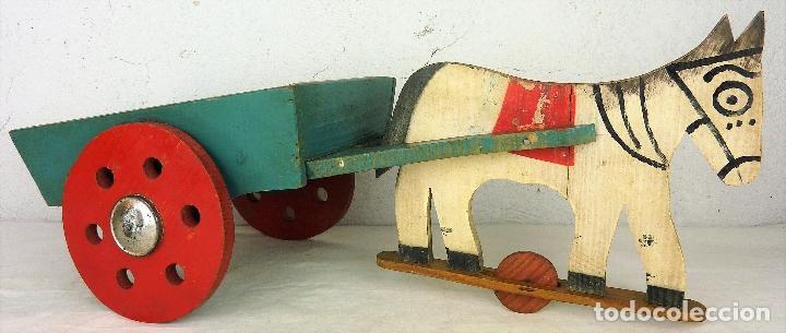 Antiguo Juguete De Madera Caballo Con Carro Ano Comprar Juguetes