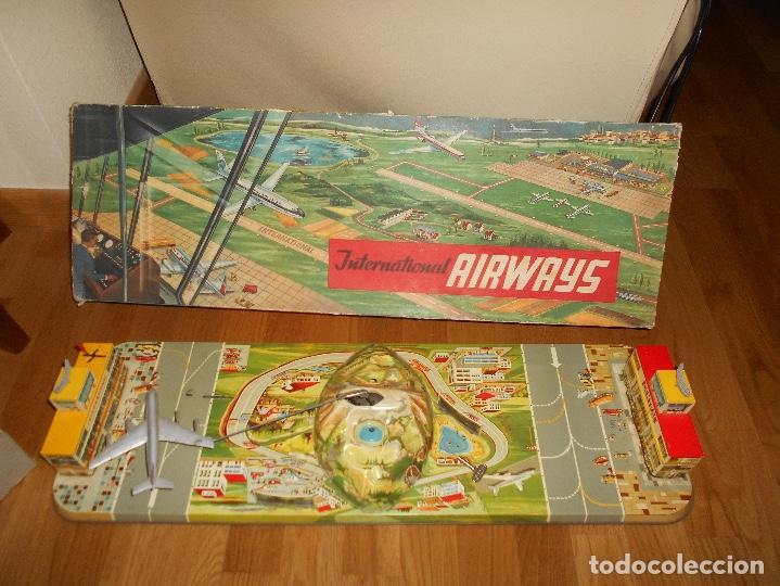 INTERNATIONAL AIRWAYS HOJALATA AVION WESTERN GERMANY AÑOS 50 TECHNOFIX FUNCIONANDO (Juguetes - Marcas Clasicas - Otras Marcas)