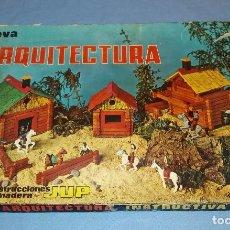 Juguetes antiguos: ANTIGUO JUEGO DE CONSTRUCCION DE MADERA ARQUITECTURA DE JUP AÑOS 60 COMPLETO. Lote 103987311