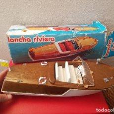 Juguetes antiguos: ANTIGUO JUGUETE BARCO BARCA LANCHA RIVIERA DE JEMSA REF 703 MOTOR CAJA ORIGINAL AÑOS 70. Lote 106094263